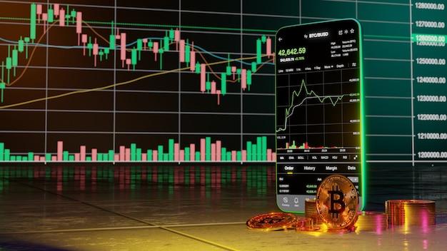Trading de crypto-monnaie ou bitcoin sur smartphone et croissance investissement dans les informations de données boursières. notion de commerçant. rendu 3d.
