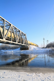 Train de marchandises sur le pont de chemin de fer