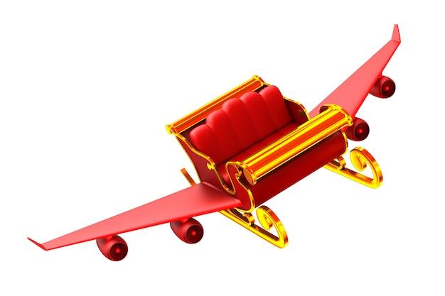 Traîneau de noël rouge sur blanc. illustration 3d isolée