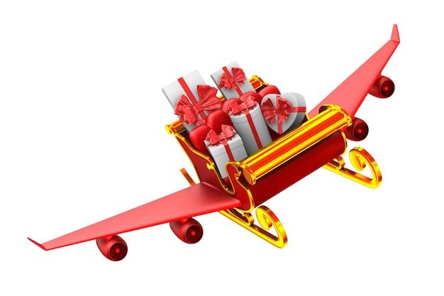 Traîneau de noël rouge avec coffrets cadeaux sur blanc. illustration 3d isolée