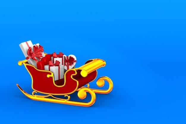 Traîneau de noël rouge avec coffrets cadeaux sur bleu. illustration 3d isolée