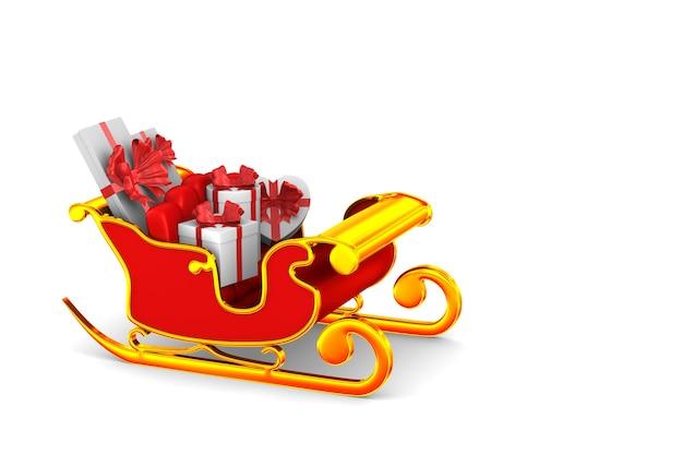 Traîneau de noël rouge avec illustration 3d de coffrets cadeaux