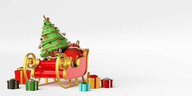 Traîneau plein de cadeaux de noël et rendu 3d de sapin de noël