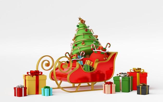 Traîneau plein de cadeaux de noël rendu 3d
