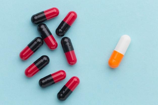 Traitement de pilules vue de dessus