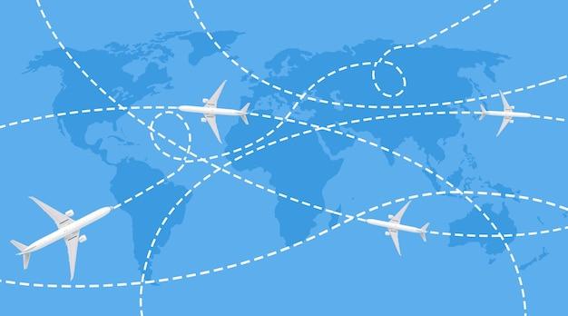 Trajectoires d'avions de passagers sur la carte du monde bleu
