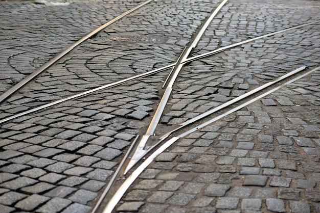 Tramway, rails, beau, croisement