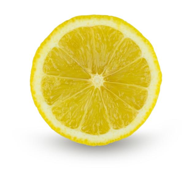 Tranche de citron isolé sur blanc avec un tracé de détourage