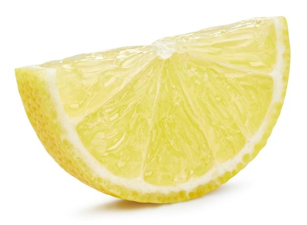 Tranche de citron isolé sur fond blanc. tracé de détourage de fruits de citron. photo macro de qualité