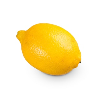 Tranche de citron sicilien frais isolé sur fond blanc. vue de dessus