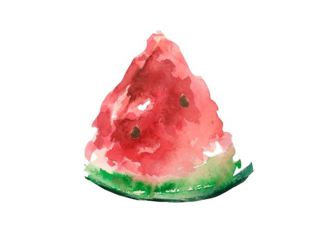 Tranche de melon d'eau juteux rouge sur fond blanc isolé