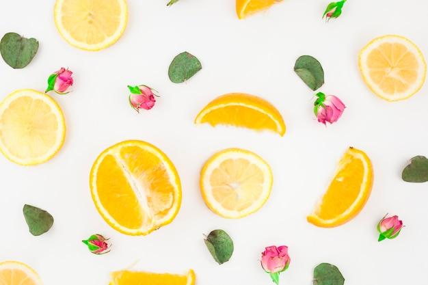 Tranche d'oranges feuilles et boutons de roses roses sur fond blanc