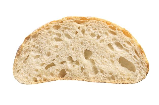 Tranche de pain ciabatta blanc isolé sur fond blanc