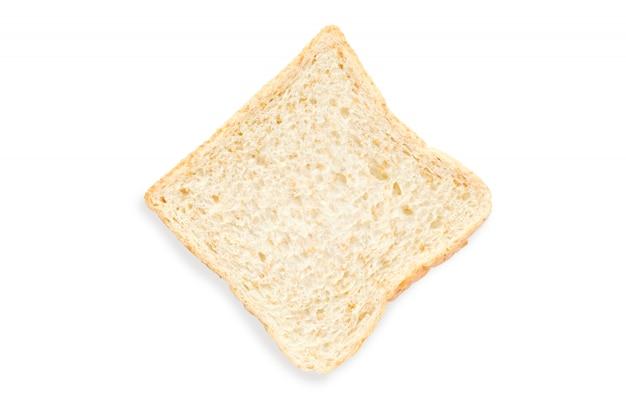 Tranche de pain sur fond blanc et isolé avec un tracé de détourage