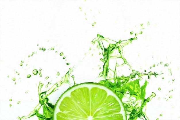 Tranches de citron vert dans un soupçon de jus