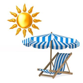 Transat et parasol et soleil. isolé, rendu 3d
