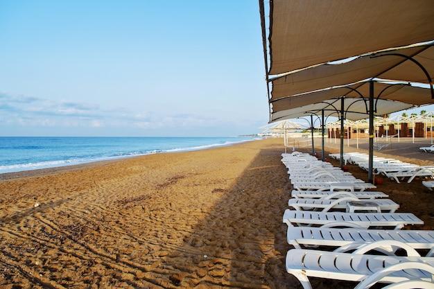 Des transats s'alignent sur la plage, sans personne, tôt le matin, voyage conceptuel.