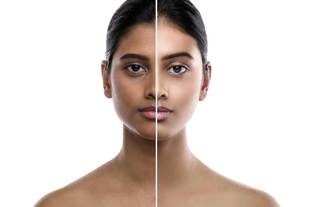 Transformation de la jeune femme indienne. résultat d'une chirurgie plastique ou d'une retouche.