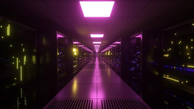 Transmission de données numériques à des serveurs de données derrière des panneaux de verre dans une salle de serveurs de centre de données. lignes numériques à grande vitesse. illustration 3d