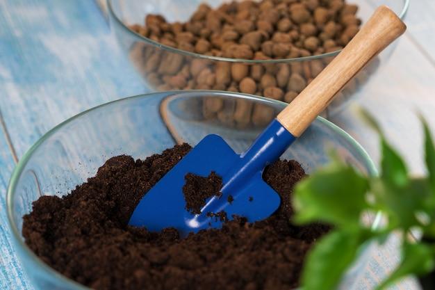 Transplanter des plantes dans un autre pot à la maison. outils de jardinage à domicile.