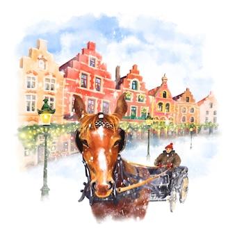 Transport de chevaux sur la place du marché de noël à bruges, belgique