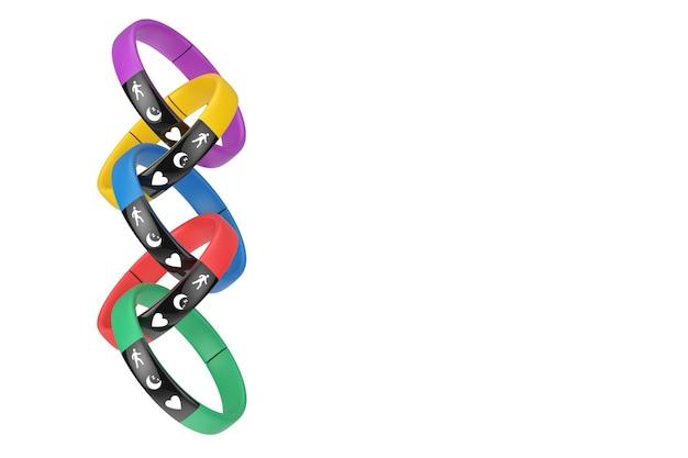 Traqueurs de fitness multicolores en forme de chaîne sur fond blanc. rendu 3d