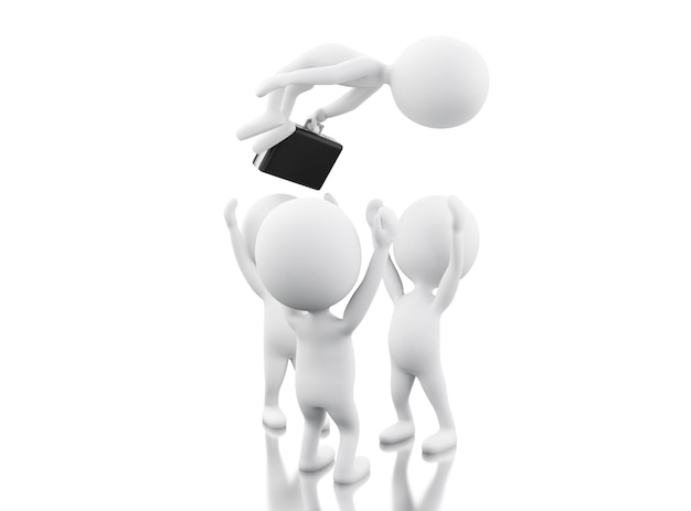 Travail en équipe 3d. concept d'affaires