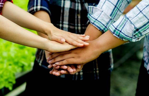 Travail d'équipe, unité, travail d'équipe unité de groupe unité d'esprit pouvoir rassembler pour faire preuve de détermination et d'énergie. concept de travail d'équipe
