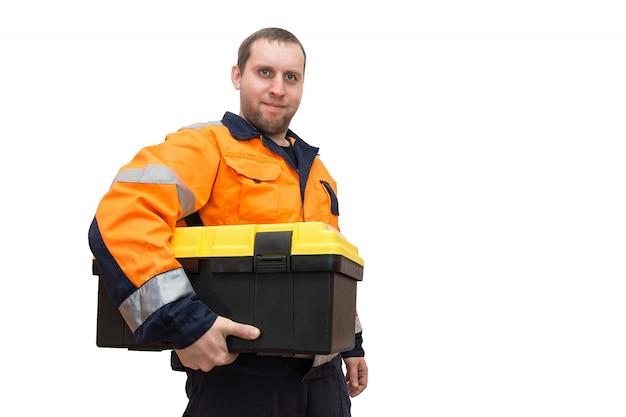 Travailleur avec boîte à outils