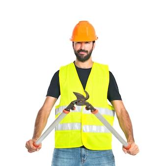 Travailleur, ciseaux, tondeuse, blanc, fond