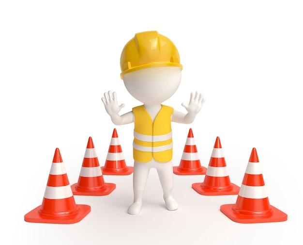 Travailleur avec des cônes de signalisation