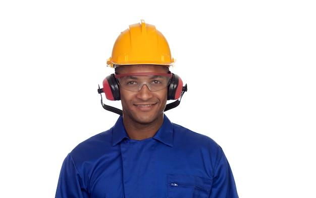 Travailleur de la construction avec casque et lunettes