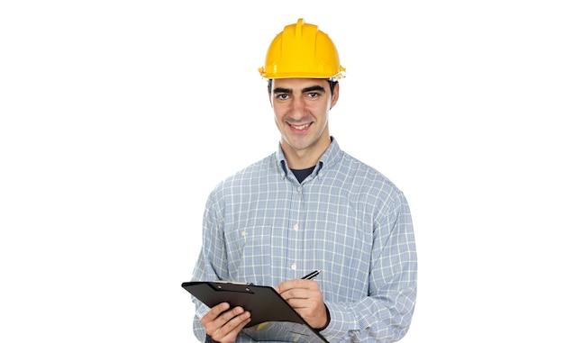 Travailleur de la construction sur un fond blanc