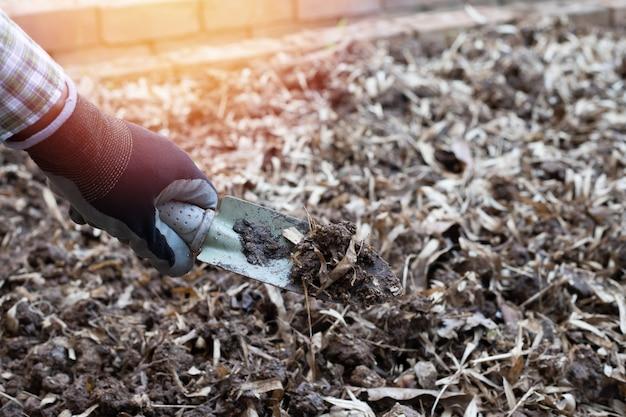 Travailleur creuse le sol noir avec une pelle dans le potager, à l'extérieur