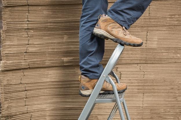 Travailleur sur l'échelle dans l'entrepôt
