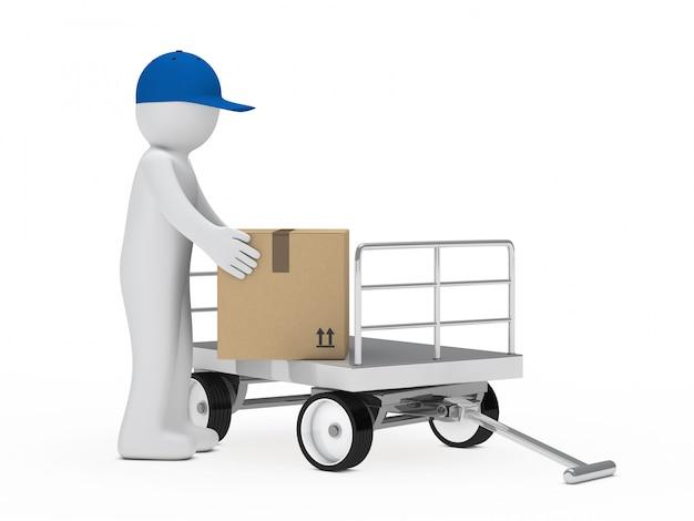 Travailleur ramasser une boîte