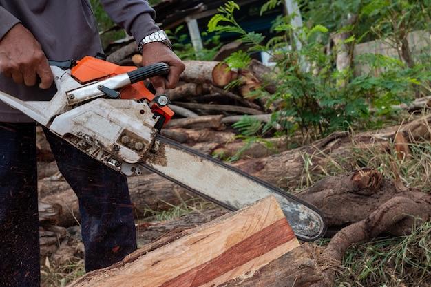 Le travailleur travaille avec une scie à chaîne. la tronçonneuse se bouchent. bûcheron scie un arbre avec une scie à chaîne. homme coupant du bois avec de la scie, de la poussière et des mouvements.