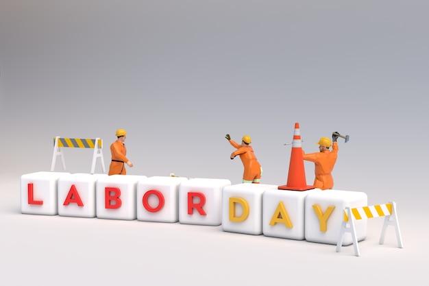 Travailleurs de la scène 3d de la fête du travail