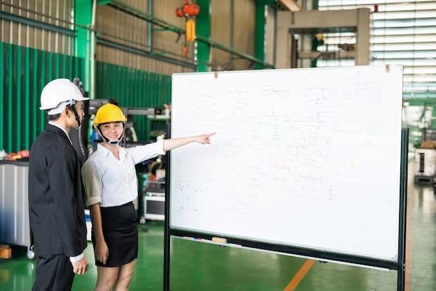 Une travailleuse d'usine présente le flux de travail de fabrication pour produire la commande par une machine à tour cnc