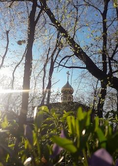A travers le feuillage des arbres et des fleurs, vous pouvez voir le dôme avec la croix de la chapelle chrétienne sur fond de ciel bleu lumineux