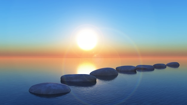 Tremplins 3d dans l'océan au coucher du soleil