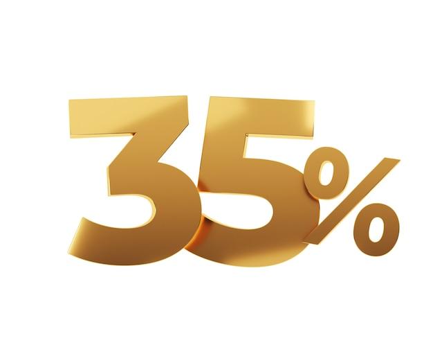 Trente-cinq pour cent d'or sur fond blanc. illustration de rendu 3d.