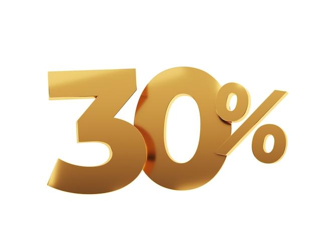 Trente pour cent d'or sur fond blanc. illustration de rendu 3d.