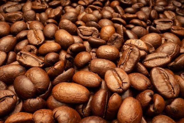 Très gros grains de café brun torréfié