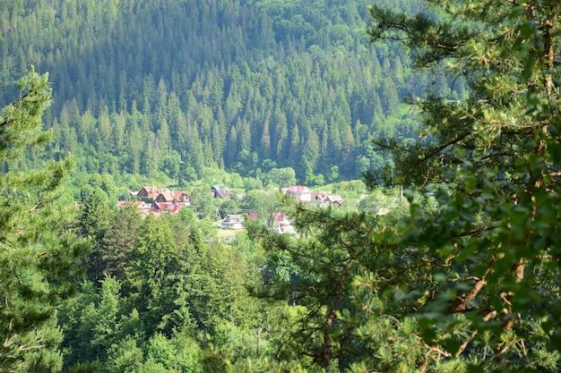 Très loin en contrebas, sous la montagne, il y a un petit village entouré d'une forêt verdoyante en été. photographié de côté à travers le feuillage, avec un premier plan flou