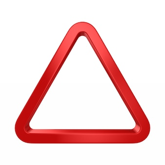 Triangle rouge sur blanc. illustration 3d isolée
