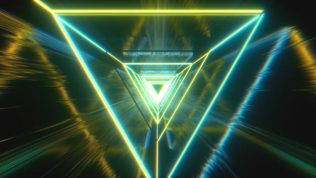 Triangles au néon rougeoyant créant un tunnel avec réflexion grunge