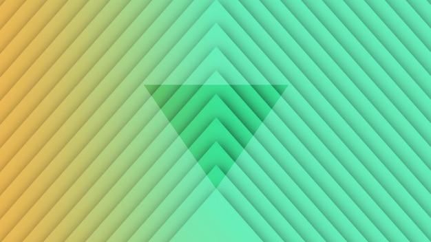 Triangles verts et jaunes d'hypnose à gradient géométrique de mouvement, arrière-plan abstrait rétro. style d'illustration 3d élégant et luxueux pour le modèle d'entreprise et d'entreprise