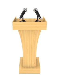 Tribune avec deux microphones sur blanc