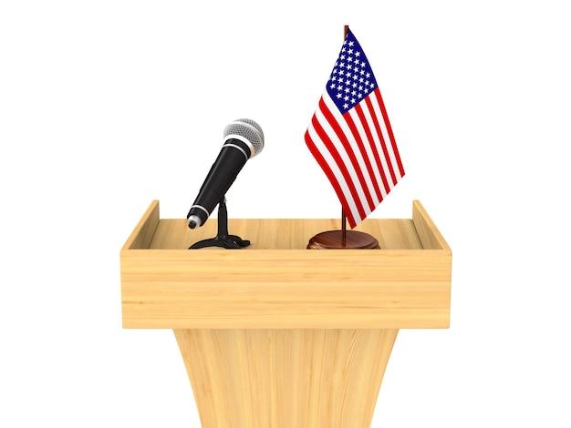 Tribune avec microphone et drapeau américain sur blanc.